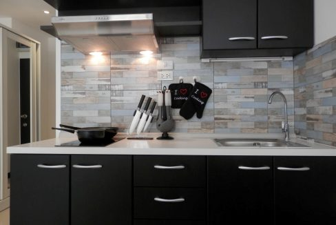 studio condo for rent with modern kitchen design